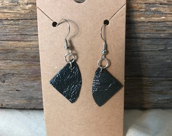 Shiny Black Upcycled Leather Drop Earrings