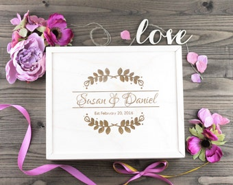 Personalized Wood Wedding Box, Wedding Gift, Wedding Favour, Guestbook Alternative, Card Box, Keepsake, Jewellry Box, Anniversary Gift