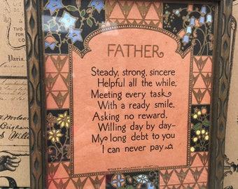 Antique D.F. Volland Poem, Father, Framed