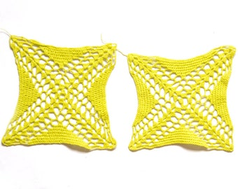 2 Lime green hand dyed Crochet Doily Vintage doilies