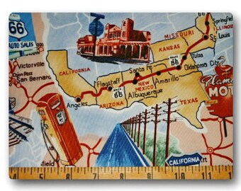 Historic Route 66 - Fat Quarter very hard to find 18 inches x 22 inches