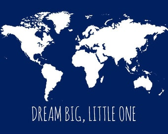 World map picture etsy dream big little one map kids world gumiabroncs Image collections