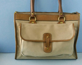 Vintage Ghurka Marley Hodgson Purse - Leather & Canvas Runabout Bag Style No. 9 - Made in America