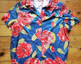 Vintage Alex Colman Floral Top Rose Top 1970's
