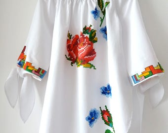 Hand Painted Blouse by Sanziana / hand sewn blouse