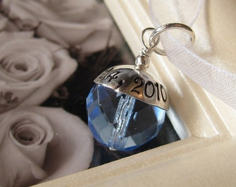 SOMETHING BLUE- Custom Hand stamped wedding bridal bouquet charm- Fits Large Hole Charm Bracelets