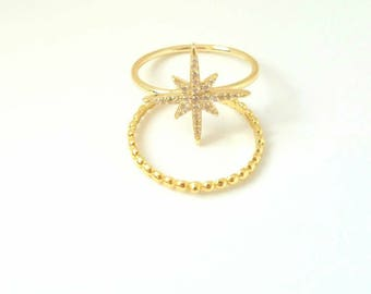 Star Ring Yellow Gold Ring Stackable Dainty Ring Starburst ring Gift for Her Silver crystal  Minimalist Celestial Jewelry