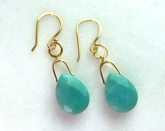 Simple Table Faceted Amazonite Earrings in Gold...