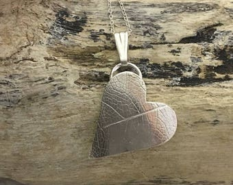Leaf textured sterling silver heart pendant