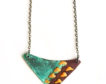 Yellow and Patina Enamel Necklace