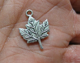 10 Maple Leaves Antique Silver Canada Maple Leaf Charms 19mm x 14mm BIN4.42