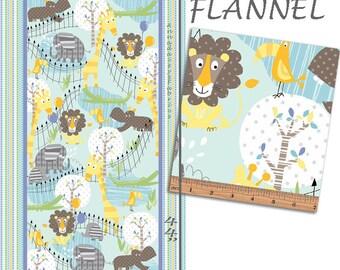 Flannel Zoo Animal Fabric Panel, Elephant, Hippo, Lion, Giraffe Flannel Baby Quilt Panel, Kanvas Studio Zoo Baby 8536F 84, Cotton, 23 x 44