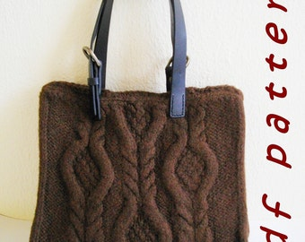 Brown cabled bag - pdf pattern