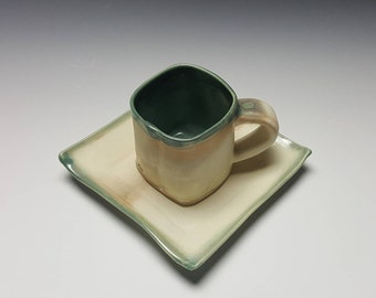 Handmade espresso cup with saucer by potteryi. Squared capuccino cup and saucer with green rim.