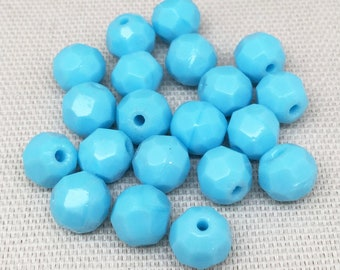 25 Baby Blue Czech Faceted Glass Beads 8mm
