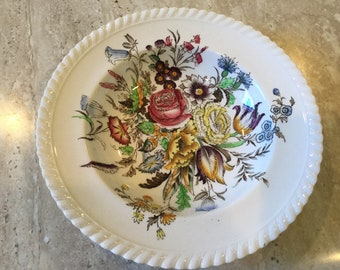 vintage Johnson Brothers Windsor Ware in the Garden Bouquet pattern 8  inch round serving bowl, soup bowl/english china/english plates