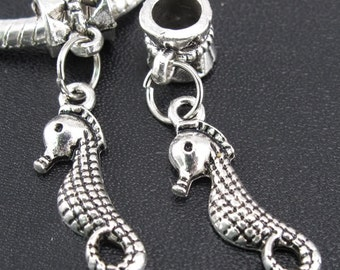 Antiqued Silver Sea Horse, Large Hole Dangle Bead fits European Style Charm Bracelets & Necklaces, Lead and Nickel Free, Big Hole Charm Bead