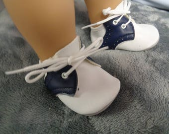"Navy Blue and White Vintage Saddle  SHOES Fits 18"" American Girl Dolls"