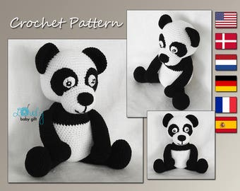 Panda Crochet Pattern, Animal Crochet Pattern, Amigurumi Panda, CP-137