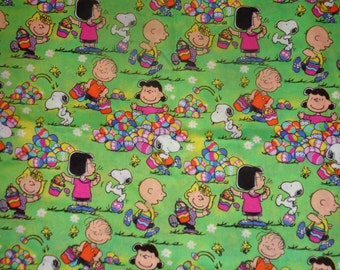 Snoopy/Peamuts Easter Fabric by the Half Yard