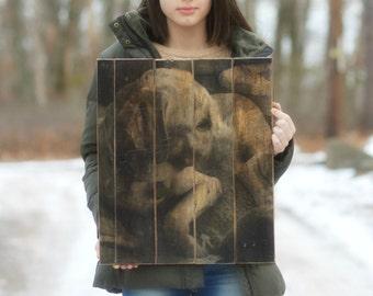 Reclaimed pallet Wood Photo pet portrait personalized pallet photo. custom wood photo 5th anniversary gift  Wood photo