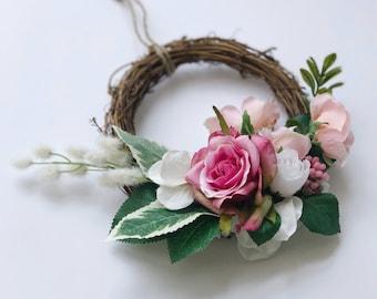 Petite pink floral grapevine wreath, pink floral wreath, pink flower wreath, farmhouse decor, spring wreath, pink nursery decor