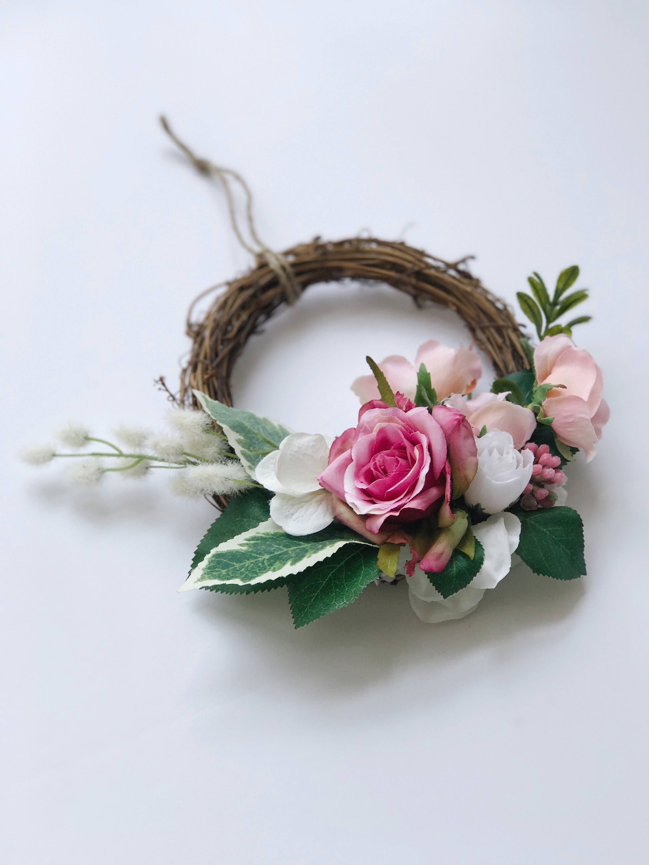 Petite Pink Floral Grapevine Wreath Pink Floral Wreath Pink