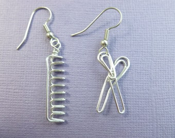 HAIRDRESSER's earrings wire wrapped scissors comb wirework handmade