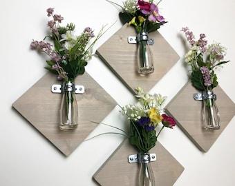 Wall Vase Sconce Set, Farmhouse Wood Wall Vase, Hanging Vase, Diamond Bud  Vase