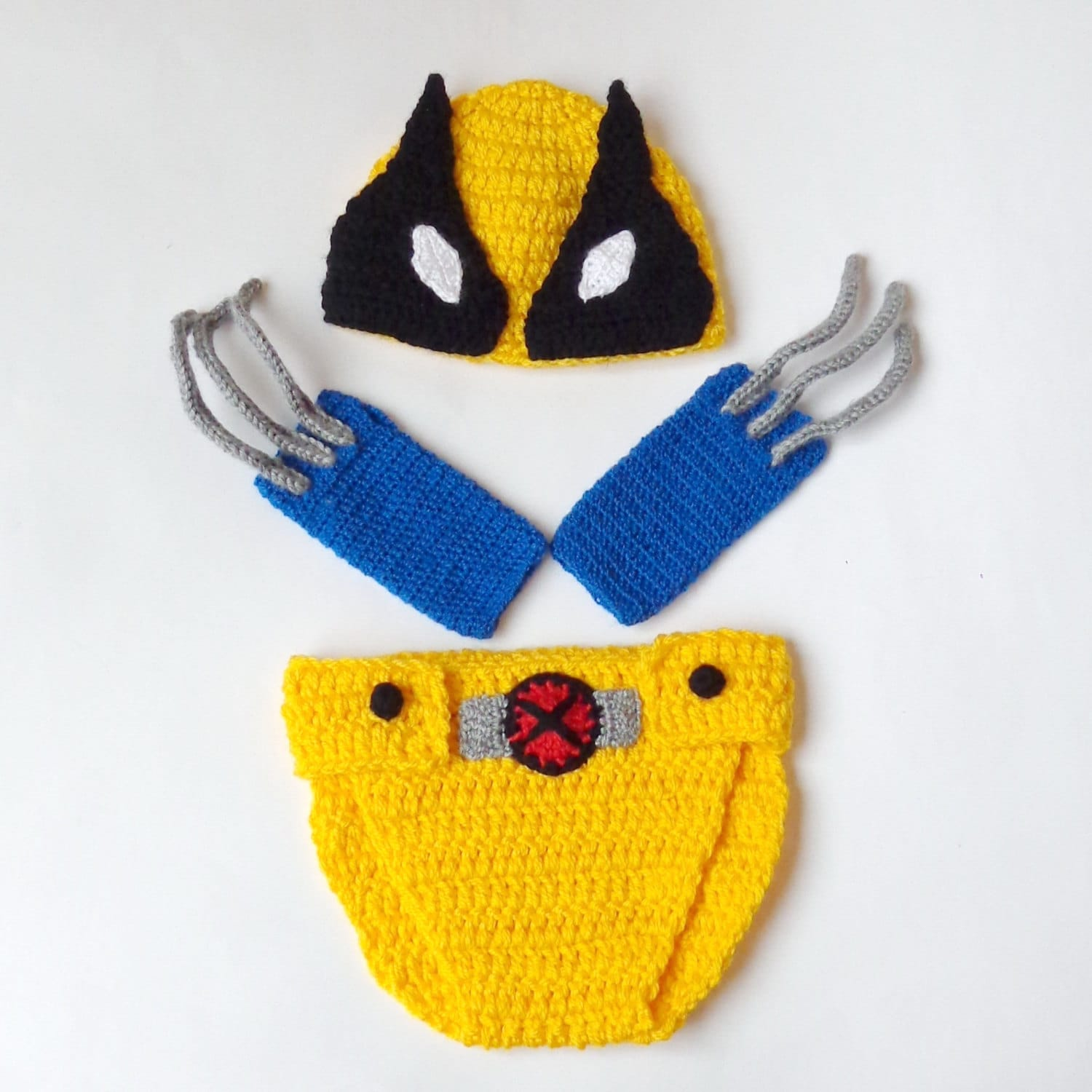 ?zoom  sc 1 st  Etsy & Wolverine Marvel Costume Hat And Diaper Cover With Gloves