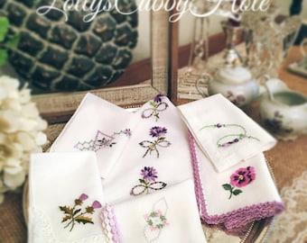 Vintage Hankies, Purple, Bridal Party Handkerchiefs, Lavender,  Wedding, Something Old, Bridesmaids Gift, Happy Tears Hankies (6)