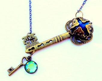 Neo Victorian, Steampunk, Labradorite Gem, Swarovski Crystal, Key Necklace, Fine Sparkling Gunmetal Chain, OOAK