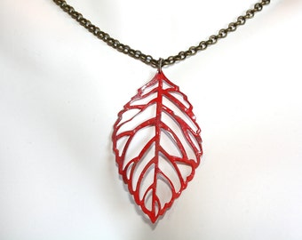 Simple Leaf Necklace,Red Leaf Necklace, Red Necklace, Leaf  Necklace,Gift Idea, Necklace, 24 inch necklace