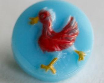 Blue Glass Kiddie Button with Chicken