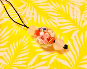 Handmade pretty floral glass bead leather necklace
