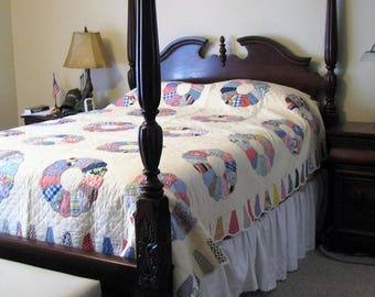 Quilts for Sale - Vintage 1940's Dresden Plate Hand Sewn and Hand Quilted - Never Used - Vintage Queen Quilt - Quilt Rescue