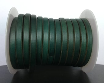 European licorice leather cord for bracelets, Licorice leather 10x6mm, Green licorice leather findings, First quality Spanish leather