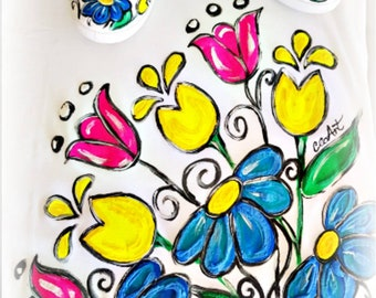 Summer Flowers Hand Painted T-shirt,  Hand Painted Flowers T-shirt, Hand Painted Blouse, Flowers, Summer, Tulips, Pink, Blue, Yellow