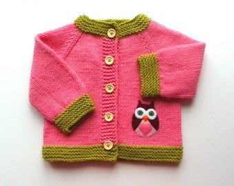 Owl baby jacket pink knit baby girl sweater MADE TO ORDER