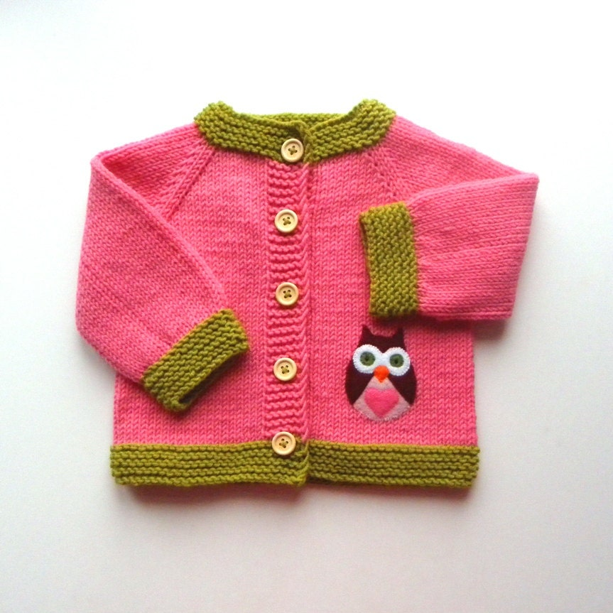 eule rosa jacke stricken baby m dchen pullover made to order. Black Bedroom Furniture Sets. Home Design Ideas