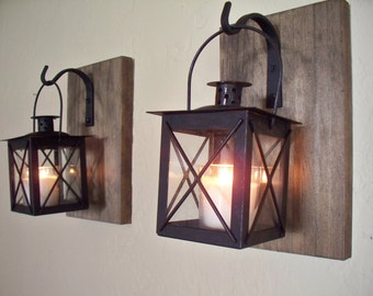 Wood wall sconces (2) on rustic wood boards. Home decor, bedroom decor, housewarming gift, wedding gift.