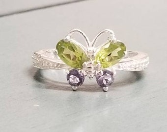 Gemstone Butterfly Ring / Peridot Iolite Zircon Butterfly Ring / Peridot Ring / Iolite Ring / Sterling Silver Gemstone Butterfly Ring