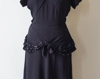 1940s Peplum Black Sequin Detail