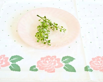 Vintage Polka Dot Tablecloth, Flower Rose Print Pink and Jade Green Table Cover, Vintage Linens Spring Decor