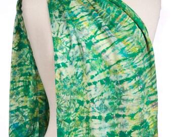 Silk Charmeuse Shibori Scarf Green Emerald Tie Dye