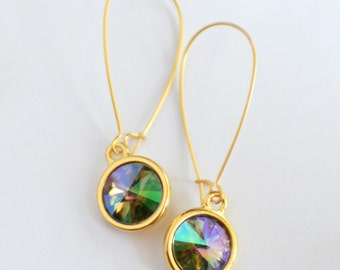 Super Sparkly Gift Boxed Swarovski Crystal Earrings, Crystal and Matte Gold Earrings, Minimalist Earrings, Rainbow Earrings Prism Earrings