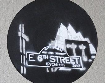 Austin 6th Street Vinyl Record Spray Painting
