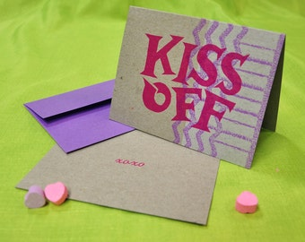 Snarky KISS OFF letterpress card