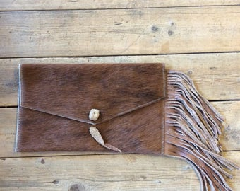 Leather clutch, fringe, small purse, evening bag, leather purse, valentines gift