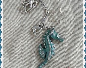 "Scissor fob ""Little Seahorse"" - polymer clay scissor fob."
